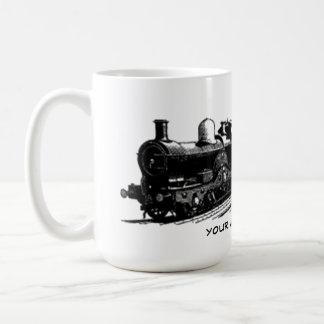 caneca da locomotiva de vapor do trem do vintage