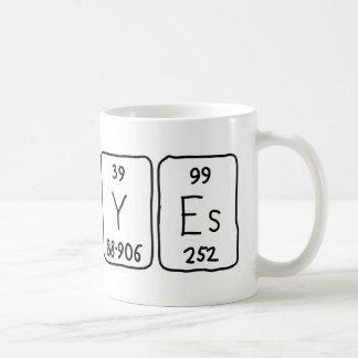 Caneca da palavra da mesa periódica de No/Yes