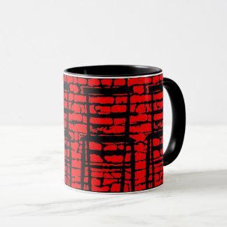 Caneca da parede de tijolo preto e vermelho