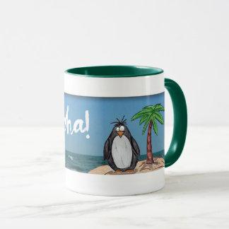 Caneca da praia do pinguim dos desenhos animados