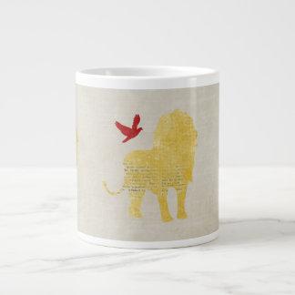 Caneca da silhueta do leão do ouro do vintage caneca de café muito grande