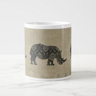 Caneca da silhueta dos rinocerontes do vintage caneca de café muito grande