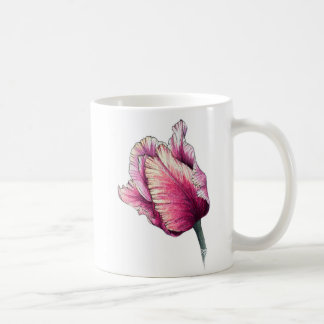 Caneca da tulipa do papagaio da aguarela do