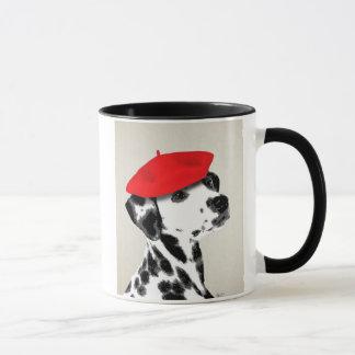 Caneca Dalmatian com boina vermelha