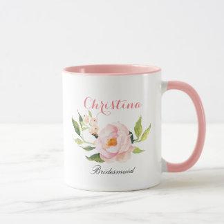 Caneca Dama de honra personalizada Floral-2