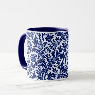 Caneca Damasco, azuis cobaltos & branco do cardo de