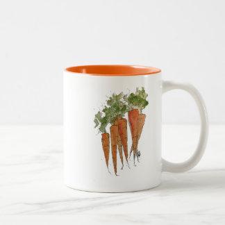 Caneca das cenouras da aguarela