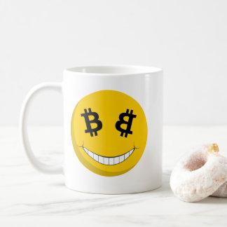 Caneca de Bitcoin do smiley (BTC)