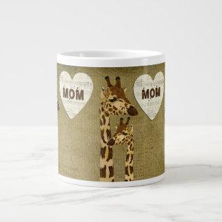 Caneca de bronze dourada da mamã dos girafas canecas de café muito grande