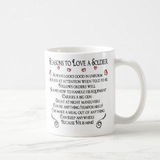 Caneca De Café 10 razões amar um soldado, 10 razões ao lov…