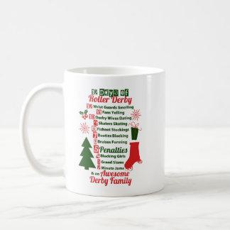 Caneca De Café 12 dias do Natal de Derby do rolo, patinagem de