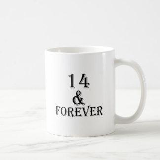 Caneca De Café 14 e para sempre design do aniversário