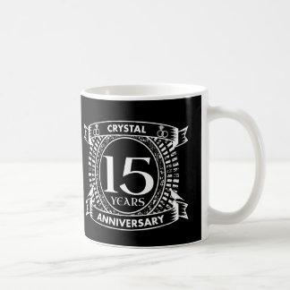 Caneca De Café 15o aniversário de casamento preto e branco