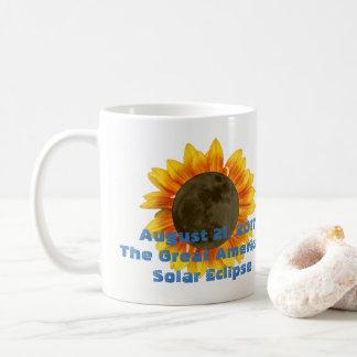 Caneca De Café 2017 eclipse solar, edição do girassol