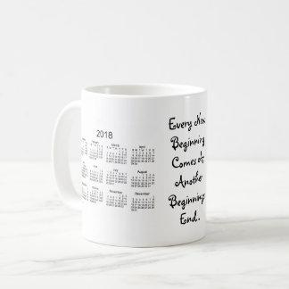 Caneca De Café 2018-2019 calendário branco dos começos novos por