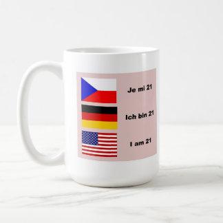 Caneca De Café 21 em 3 línguas