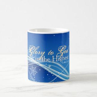 """Caneca De Café 2:14 """"glória de Luke ao deus"""" no Natal o mais alto"""