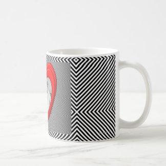"""Caneca De Café 3D forma """"listra preto e branco diagonal """" do"""
