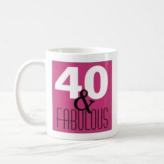 Caneca De Café 40 e festa de aniversário branca preta roxa