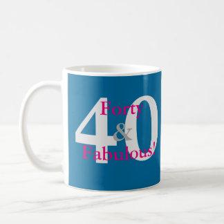 Caneca De Café 40 & fabuloso! Rosa azul & quente do aniversário
