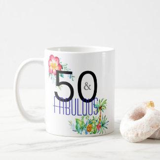 Caneca De Café 50 e 50th aniversário tropical fabuloso