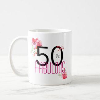 Caneca De Café 50 e 50th festa de aniversário elegante fabulosa