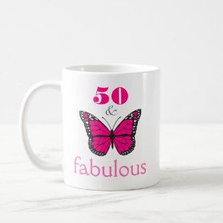 Caneca De Café 50 e presente cor-de-rosa fabuloso da borboleta do