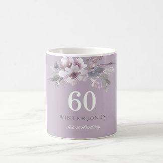 Caneca De Café 60th presente floral roxo elegante da festa de