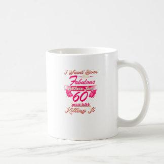 Caneca De Café 60th T fabuloso do presente da festa de