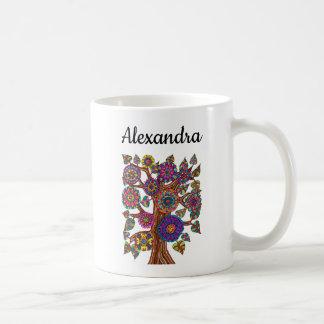 Caneca De Café A árvore lunática colorida floresce o nome do