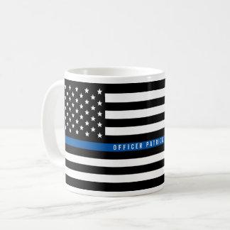 Caneca De Café A bandeira americana fina de Blue Line da polícia