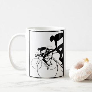 Caneca De Café A bicicleta retro mostra em silhueta 2 1986