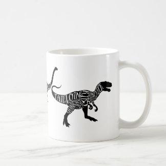 Caneca De Café A carne do diplodocus de Trex do dinossauro corta