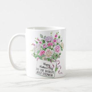 Caneca De Café A Dia-Madrasta da mãe feliz do buquê roxo