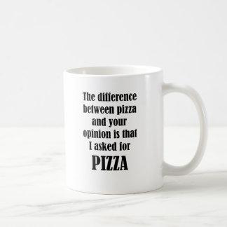 Caneca De Café A diferença entre a pizza e a sua opinião