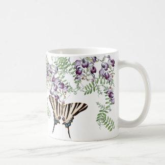 Caneca De Café A ervilhaca do Wildflower das borboletas do