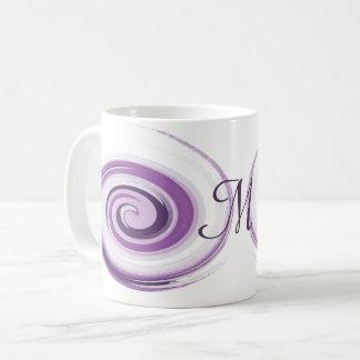 Caneca De Café A escova violeta abstrata afaga a espiral.