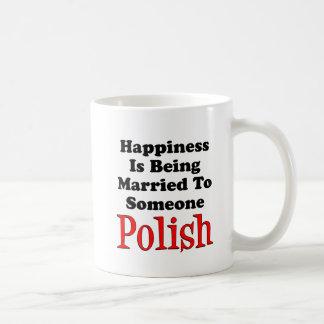 Caneca De Café A felicidade casou a alguém o polonês