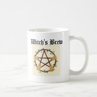 Caneca De Café A fermentação da bruxa do pentagram da vassoura