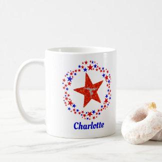 Caneca De Café A ginástica Stars azul branco vermelho o nome