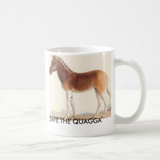 Caneca De Café a imagem do quagga, SALVAR O QUAGGA