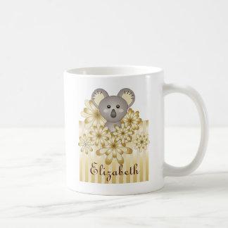 Caneca De Café A listra animal bonito do efeito do ouro do Koala