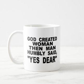 Caneca De Café A mulher criada deus equipa então disse humilde