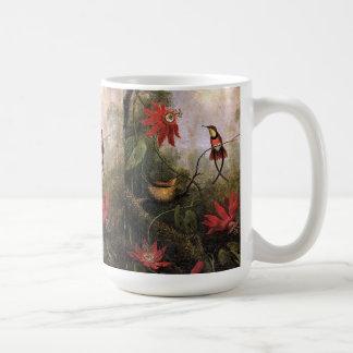 Caneca De Café A paixão dos pássaros do colibri de Heade floresce
