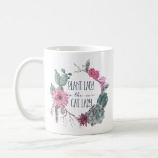 Caneca De Café A senhora da planta é a senhora nova do gato