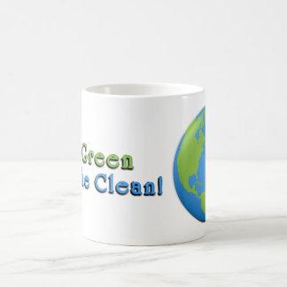 Caneca De Café A terra 3D clássico vai verde, respira limpo!