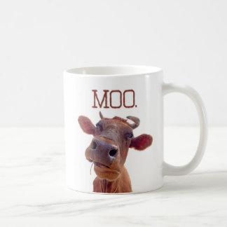 """Caneca De Café A vaca clássica """"MOO"""" engraçada"""