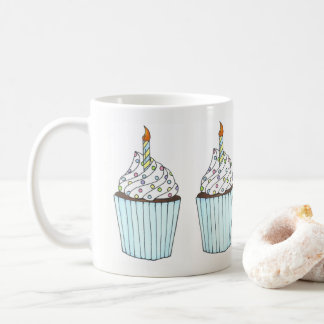 Caneca De Café A vela do cupcake do bolo do feliz aniversario