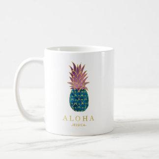 Caneca De Café Abacaxi e ouro coloridos da aguarela Aloha