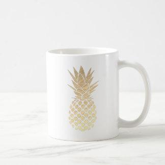 Caneca De Café abacaxi tropical do ouro
